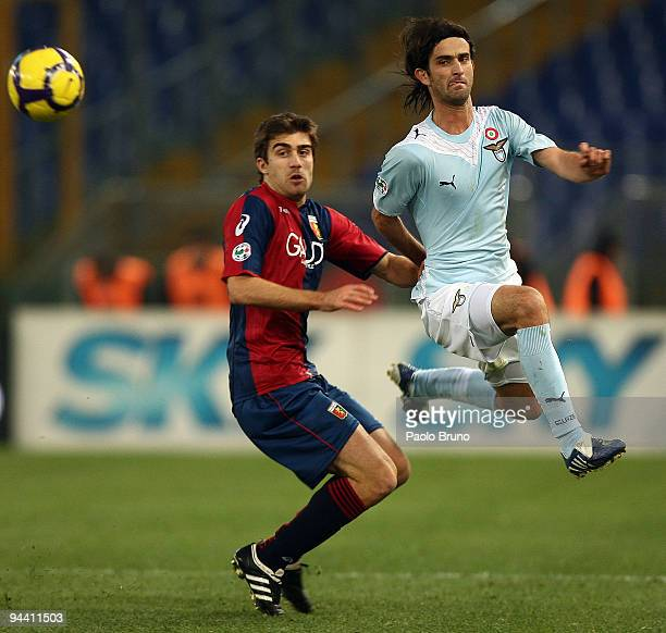 Simone Del Nero of SS Lazio and Sokratis Papastathopoulos of Genoa in action during the Serie A match between Lazio and Genoa at Stadio Olimpico on...