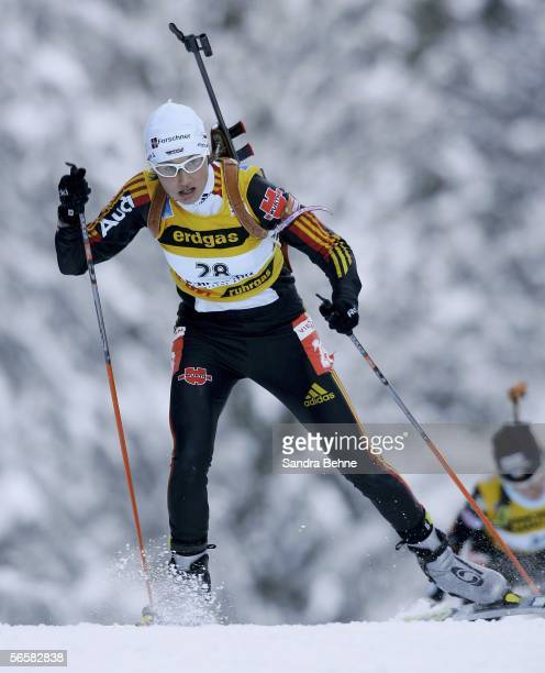 Simone Denkinger of Germany competes during the women's 7.5 km sprint of the Biathlon World Cup on January 13, 2006 in Ruhpolding, Germany.