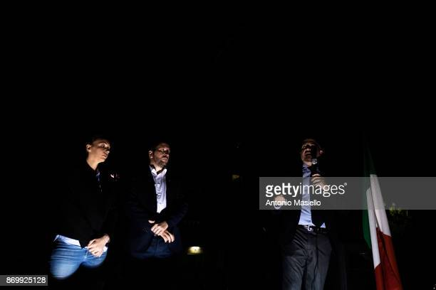 Simone Di Stefano Casapound farright movement Luca Marsella and Carlotta Chiaraluce speak during the closing act of the electoral campaign for...
