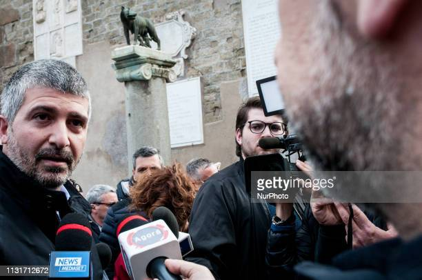 Simone Di Stefano of farright movement CasaPound protest in Rome Italy on March 20 2019 demanding the resignation of Mayor of Rome Virginia Raggi...
