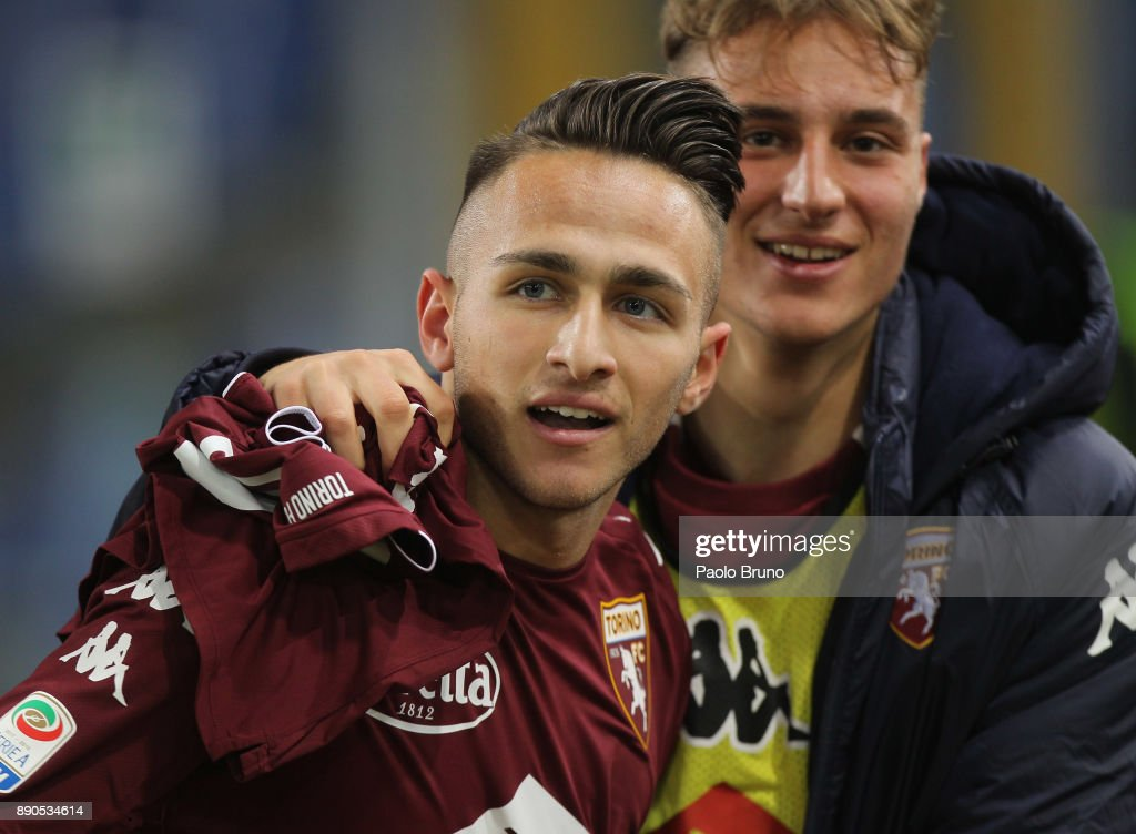 Simone Edera of Torino FC celebrates after scoring the team's third goal during the Serie A match between SS Lazio and Torino FC at Stadio Olimpico on December 11, 2017 in Rome, Italy.