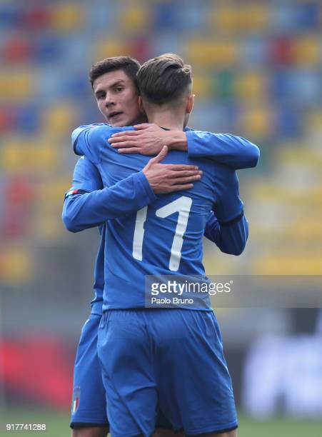 Simone Edera with his teammate Matteo Pessina of Italy U20 celebrates after scoring the opening goal during the friendly match between Italy U20 and...