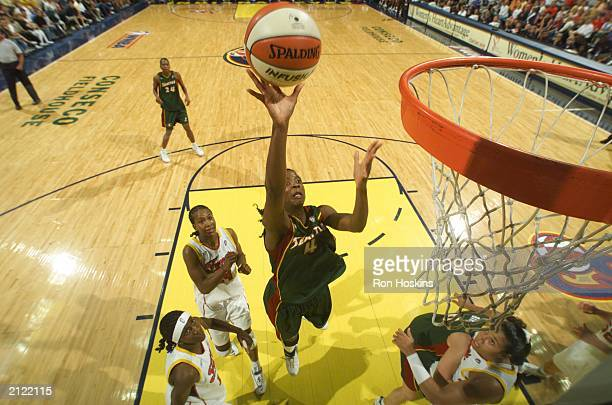 Simone Edwards of the Seattle Storm lays the ball up against the Indiana Fever on June 28 2003 at Conseco Fieldhouse in Indianapolis Indiana NOTE TO...