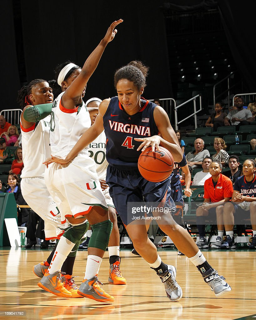 Simone Egwu #4 of the Virginia Cavaliers drives to the basket against the Miami Hurricanes on January 6, 2013 at the BankUnited Center in Coral Gables, Florida. The Hurricanes defeated the Cavaliers 58-52.