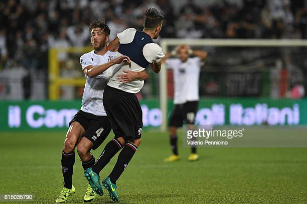 Simone Emmanuello of FC Pro Vercelli celebrates after scoring the goal of the victory with team mate Mattia Bani during the Serie B match between FC...
