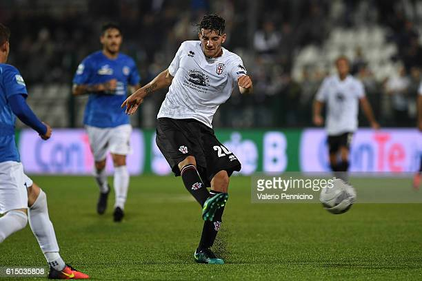 Simone Emmanuello of FC Pro Vercelli scores the goal of the victory during the Serie B match between FC Pro Vercelli and Novara Calcio at Stadio...