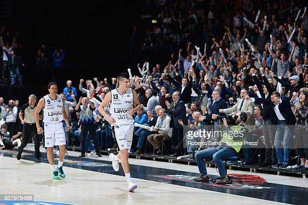 Simone Fontecchio and Abdul Gaddy of Obiettivo Lavoro celebrates during the LegaBasket match between Virtus Obiettivo Lavoro Bologna v Auxilium...