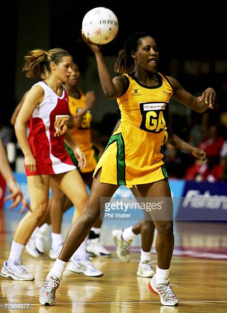 Simone Forbes of Jamaica passes the ball during the 2007 Netball World Championship 3rd v 4th playoff match between England and Jamaica at the Trusts...