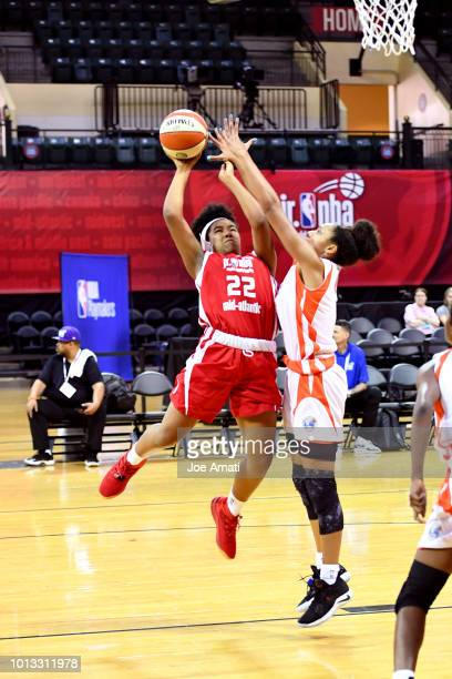 Simone Foreman of the MidAtlantic Girls shoots the ball against the South Girls during the Jr NBA World Championship on August 8 2018 at ESPN Wide...