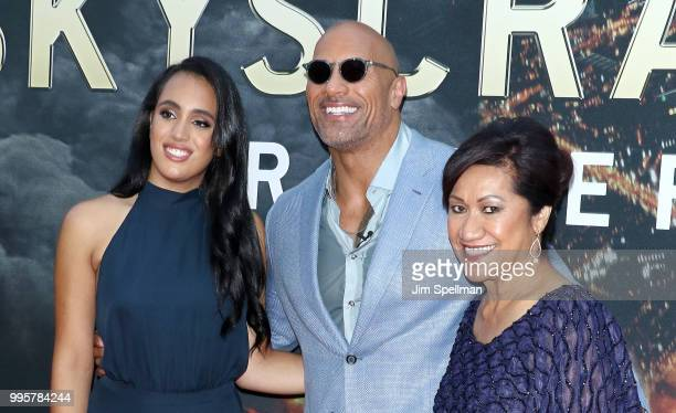 Simone Garcia Johnson actor/producer Dwayne Johnson and Ata Johnson attend the Skyscraper New York premiere at AMC Loews Lincoln Square on July 10...