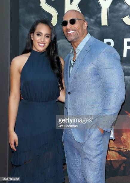 Simone Garcia Johnson and actor/producer Dwayne Johnson attend the 'Skyscraper' New York premiere at AMC Loews Lincoln Square on July 10 2018 in New...