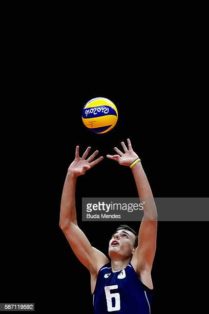 Simone Giannelli of Italy in action during the Men's Preliminary Pool A match between the Italy and France on Day 2 of the Rio de Janeiro Olympic...