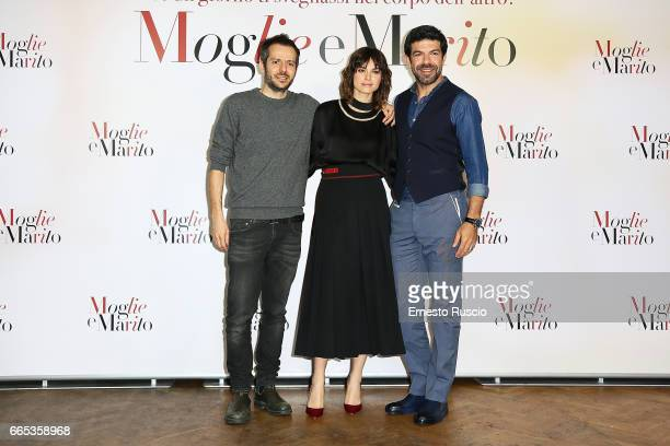 Simone Godano Kasia Smutniak and Pierfrancesco Favino Simone Godano attend a photocall for 'Moglie E Marito' on April 6 2017 in Rome Italy