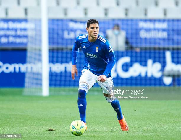 Simone Grippo of Real Oviedo in actionduring the La Liga Smartbank match between Oviedo and Real Sporting at Carlos Tartiere on October 11, 2020 in...