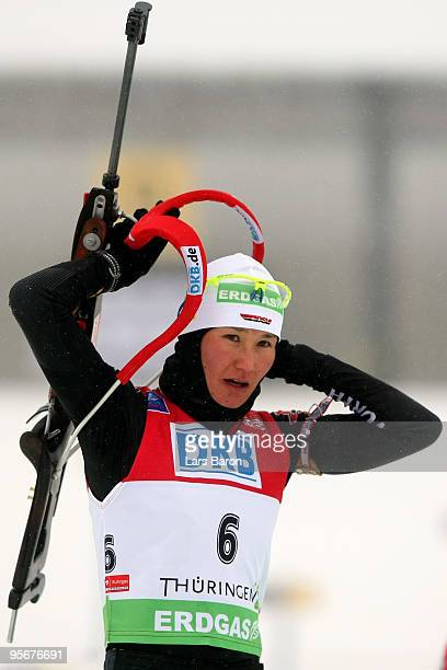 Simone Hauswald of Germany is seen at the shooting range prior to the Women's 12,5 km mass start in the e.on Ruhrgas IBU Biathlon World Cup on...