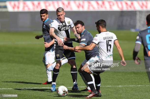 Simone Iacoponi of Parma Calcio battles for the ball with Andrea Petagna of SPAL during the Serie A match between Parma Calcio and SPAL at Stadio...