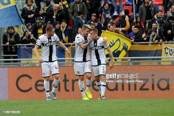 Simone Iacoponi of Parma Calcio celebrates after scoreing his team's second goal during the Serie A match between Bologna FC and Parma Calcio at...