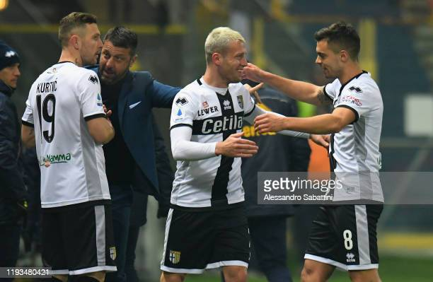 Simone Iacoponi of Parma Calcio celebrates after scoring the opening goal during the Serie A match between Parma Calcio and US Lecce at Stadio Ennio...