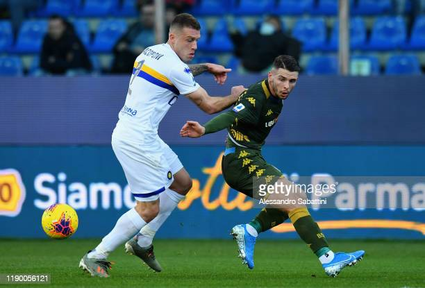 Simone Iacoponi of Parma Calcio competes for the ball with Nikolas Spalek of Brescia Calcio during the Serie A match between Parma Calcio and Brescia...