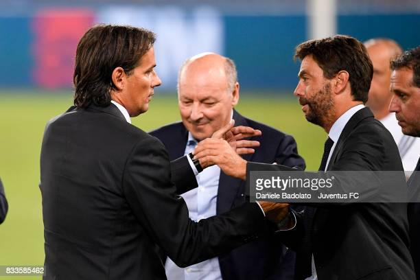 Simone Inzaghi and Andrea Agnelli during the Italian Supercup match between Juventus and SS Lazio at Stadio Olimpico on August 13 2017 in Rome Italy