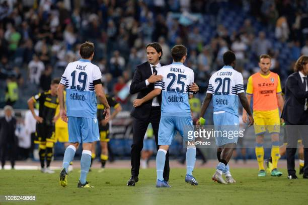 Simone Inzaghi and Milan Badelj during the Italian Serie A football match between SS Lazio and Frosinone at the Olympic Stadium in Rome on september...