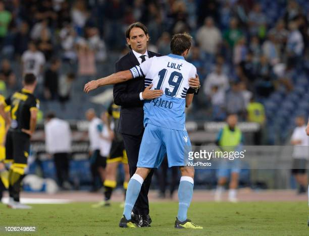 Simone Inzaghi and Senad Lulic during the Italian Serie A football match between SS Lazio and Frosinone at the Olympic Stadium in Rome on september...
