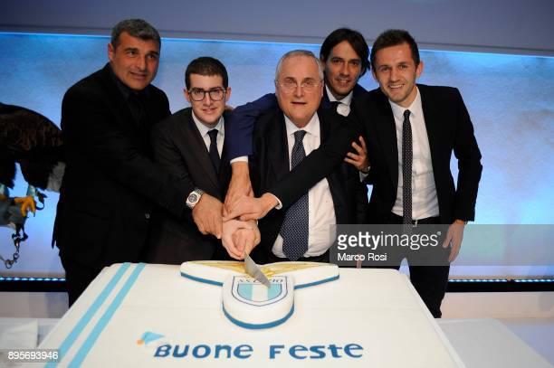 Simone Inzaghi Claudio Lotito Enrico Lotito Senad Lulic and Angelo Peruzzi attends during the SS Lazio Christmas Party on December 19 2017 in Rome...