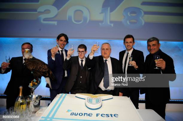 Simone Inzaghi Claudio Lotito Enrico Lotito Senad Lulic and Angelo Peruzzi attends during the SS Lazio Christmas Party on December 19 2017 in Rome...