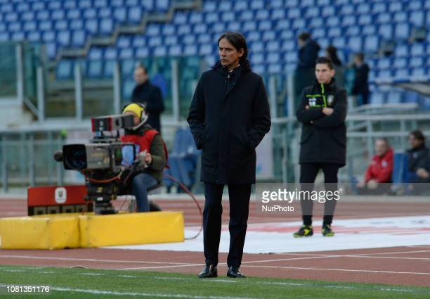 Simone Inzaghi during the Italian Cup football match between SS Lazio and Novara at the Olympic Stadium in Rome on January 12 2019