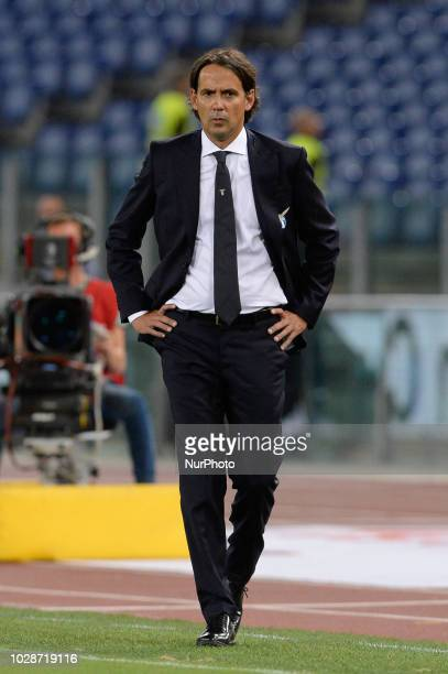 Simone Inzaghi during the Italian Serie A football match between SS Lazio and Frosinone at the Olympic Stadium in Rome on september 02 2018