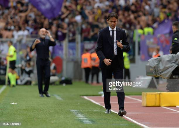 Simone Inzaghi during the Italian Serie A football match between SS Lazio and Fiorentina at the Olympic Stadium in Rome on october 07 2018