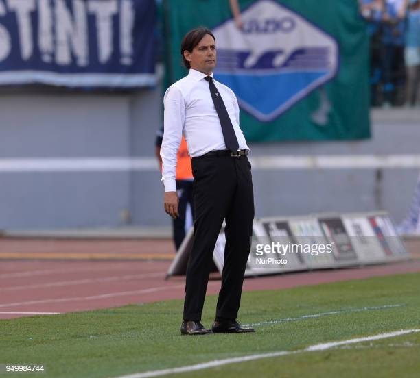 Simone Inzaghi during the Italian Serie A football match between SS Lazio and US Sampdoria at the Olympic Stadium in Rome on april 22 2018