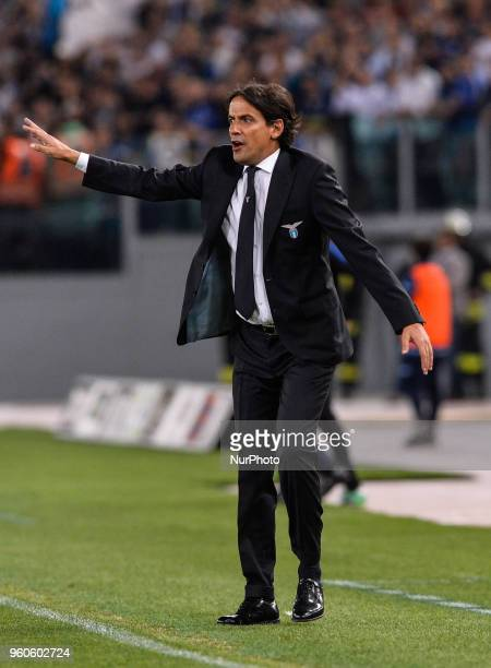 Simone Inzaghi during the Italian Serie A football match between SS Lazio and FC Inter at the Olympic Stadium in Rome on may 20 2018