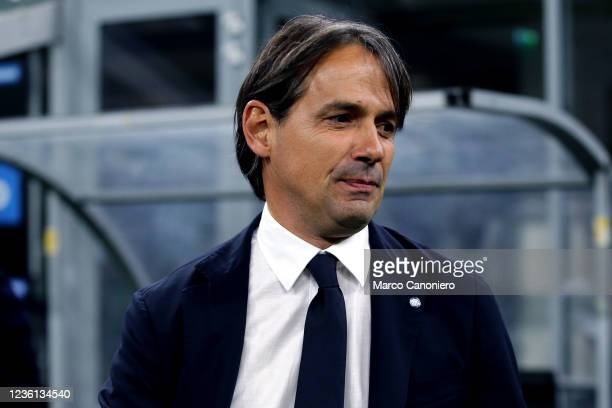Simone Inzaghi, head coach of Fc Internazionale, looks on before the Serie A match between Fc Internazionale and Juventus Fc. The match ends in a tie...