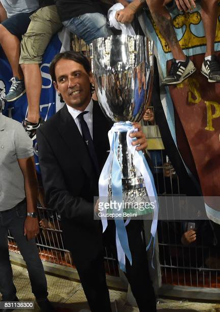 Simone Inzaghi head coach of SS Lazio celebrates the victory after the Italian Supercup match between Juventus and SS Lazio at Stadio Olimpico on...