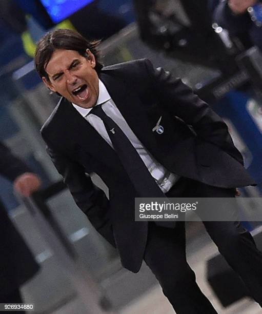Simone Inzaghi head coach of SS Lazio during the serie A match between SS Lazio and Juventus at Stadio Olimpico on March 3 2018 in Rome Italy