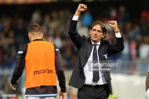 Simone Inzaghi head coach of SS Laziocelebrate at the end of the Serie A football match between Genoa CFC and SS Lazio SS Lazio wins 32 over CFC Genoa