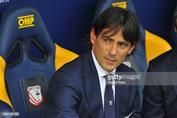 Simone Inzaghi Lazio's head coach during the Serie A football match between FC Carpi and SS Lazio at Braglia Stadium in Modena Lazio beat by 3 to 1...