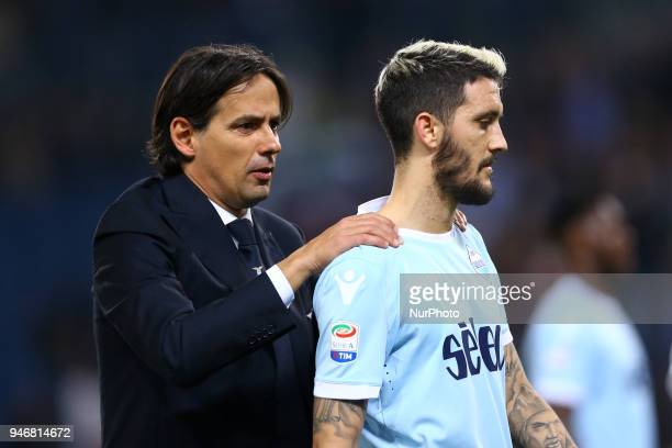 Simone Inzaghi manager of Lazio with Luis Alberto during the serie A match between SS Lazio and AS Roma at Stadio Olimpico on April 15 2018 in Rome...
