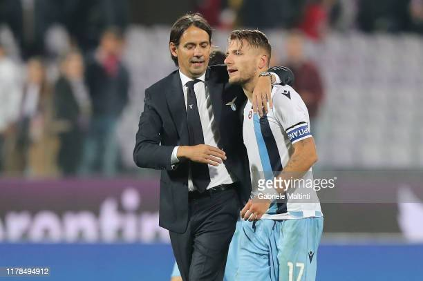 Simone Inzaghi manager of SS Lazio and Ciro Immobile during the Serie A match between ACF Fiorentina and SS Lazio at Stadio Artemio Franchi on...