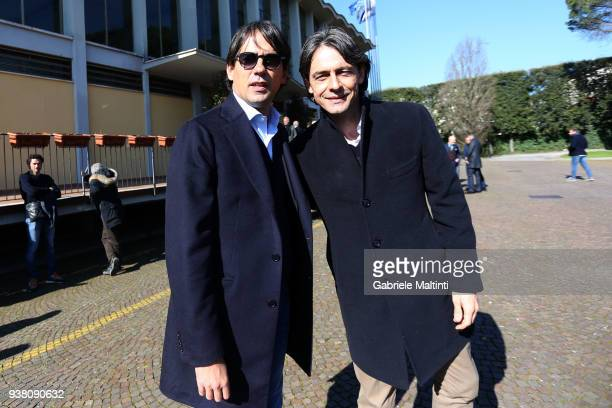 Simone Inzaghi manager of SS Lazio and Filippo Inzaghi manager of VeneziaMestre Caslcio during the Italian Football Federation 'Panchine D'Oro E...