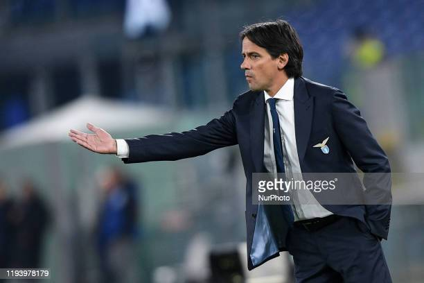 Simone Inzaghi manager of SS Lazioduring the Italian Cup match between Lazio and Cremonese at Stadio Olimpico Rome Italy on 14 January 2020