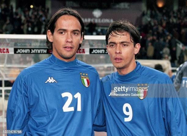 Simone Inzaghi of Italy poses for photo with his brother Filippo Inzaghi of Italy before the Friendly match between Spain and Italy at Estadio...