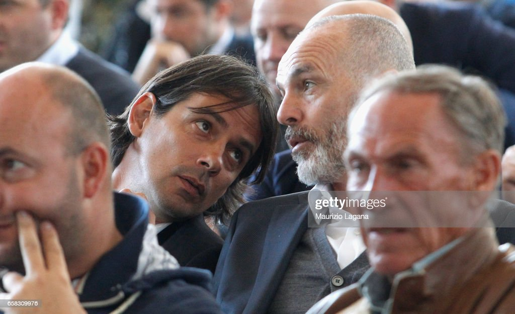 Simone Inzaghi of Lazio and Stefano Pioli of Inter attends at Italian Football Federation 'Panchine D'Oro E D'Argento' Prize at Coverciano on March 27, 2017 in Florence, Italy.