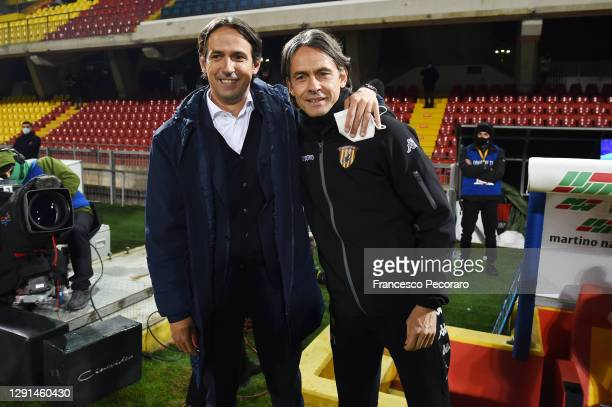 Simone Inzaghi, SS Lazio coach, greets his brother Filippo Inzaghi, the Benevento Calcio coach before the Serie A match between Benevento Calcio and...