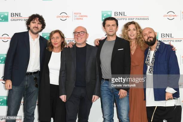 Simone Isola Aliona Shumakova Maurizio Vassallo Vinicio Marchioni Milena Mancini and Pepsy Romanoff attends the photocall of the movie Il terremoto...