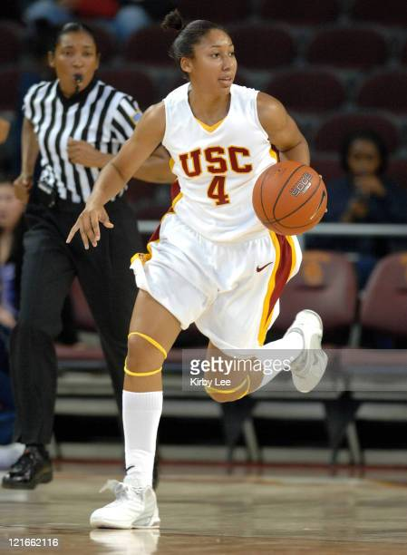 Simone Jelks of USC dribbles up court during 6253 loss to California in Pacific10 Conference women's basketball game at the Galen Center in Los...