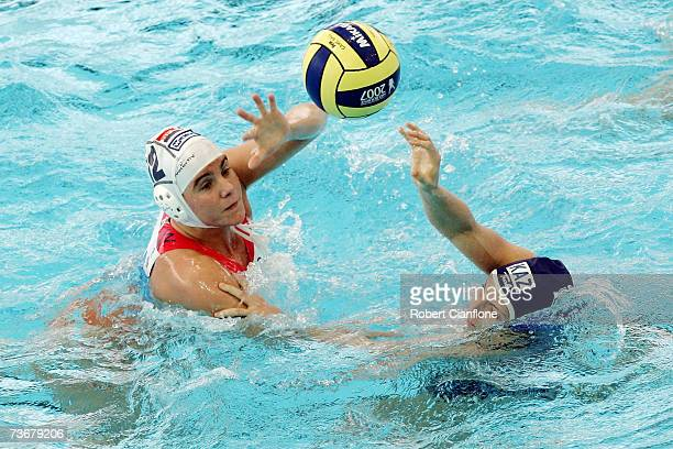 Simone Koot of Netherlands battles with Tatyana Gubina of Kazakhstan in the Women's Preliminary Round Group C Water Polo match between Netherlands...