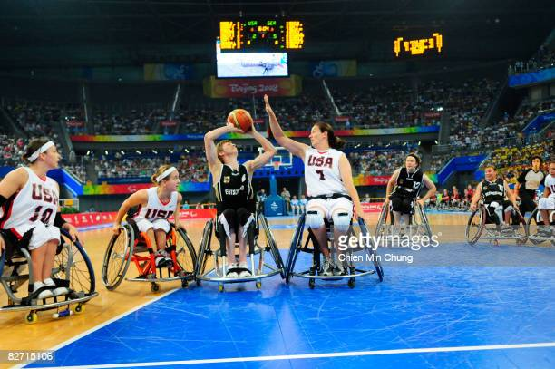 Simone Kues of Germnay shoots during the Wheelchair Basketball match between USA and Germany at the National Indoor Stadium during day two of the...