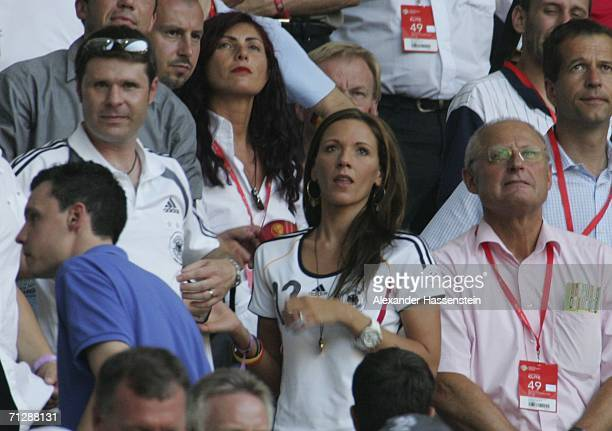 Simone Lambe girlfriend of Michael Ballack looks on following Germanys' 20 victory during the FIFA World Cup Germany 2006 Round of 16 match between...